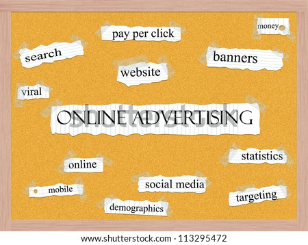 Online Adversiting Corkboard Word Concept with great terms such as search, website, banners, social media and more.