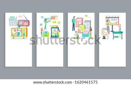 Online advertising, print and media adverts, outdoors advertisement raster. Web pages with text, promotion marketing of product, broadcasting in internet