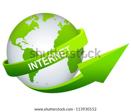 Online and Internet Concept Present By Green Internet Arrow Around The Green World Isolated on White Background