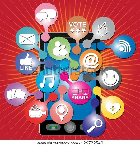 Online and Internet Social Network or Social Media Concept Present By Black Smart Phone With Group of Colorful Social Media or Social Network Icon in Red Shiny Background