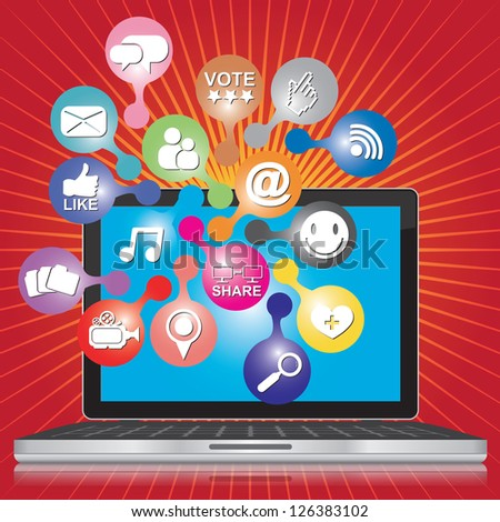 Online and Internet Social Network or Social Media Concept Present By Computer Laptop With Group of Colorful Social Media or Social Network Icon in Red Shiny Background