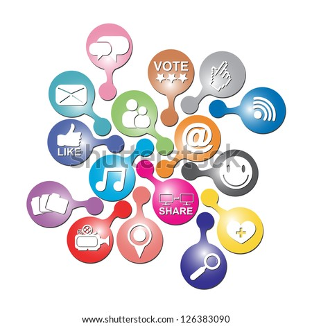 Online and Internet Social Network or Social Media Concept Present By Group of Colorful Social Media or Social Network Icon Isolated on White Background