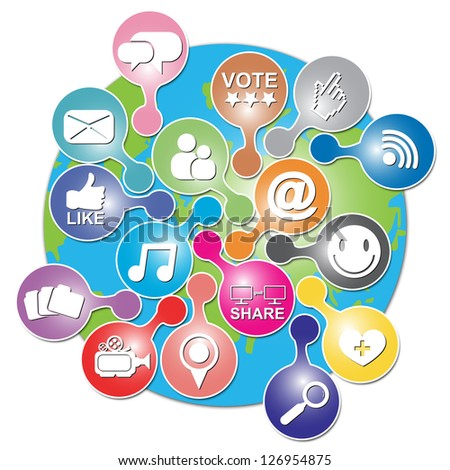 Online and Internet Social Network or Social Media Concept Present By The Earth With Group of Colorful Social Media or Social Network Icon Isolated on White Background