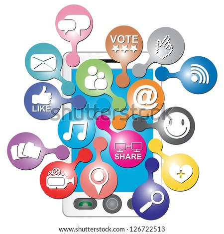 Online and Internet Social Network or Social Media Concept Present By White Smart Phone With Group of Colorful Social Media or Social Network Icon Isolated on White Background