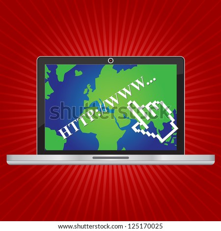 Online and Social Media Concept Present By Computer Laptop With Hyperlink Text and World Map Wallpaper in Red Shiny Background