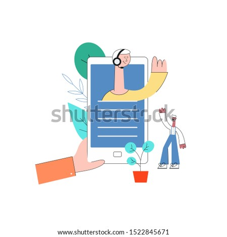 online assistant concept hand holding smartphone with man in headset waving hand from screen to male customer with beard as positive communication symbol. Cusomer cupport helpline illustration