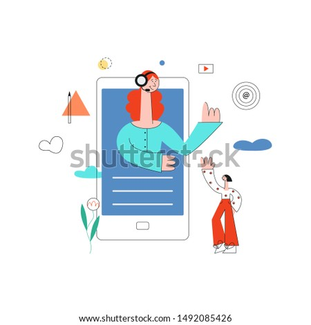 online assistant concept with smartphone with redhead woman in headset waving hand from screen to female customer as positive communication symbol Cusomer cupport helpline illustration