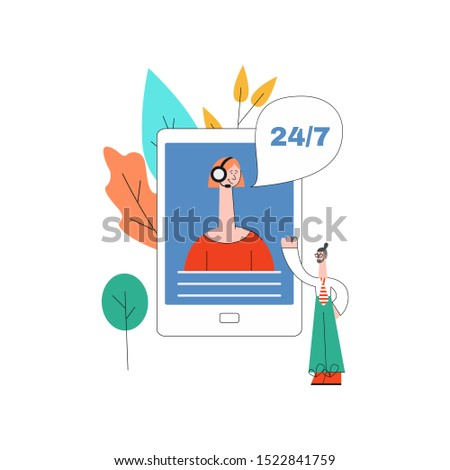 online assistant concept with smartphone with woman in headset with 24/7 sings at screen, male customer with beard as positive communication symbol Cusomer cupport helpline illustration