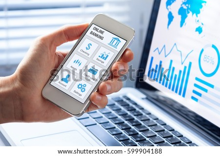 Online banking app on a mobile phone screen with a business person using finance and bank on internet
