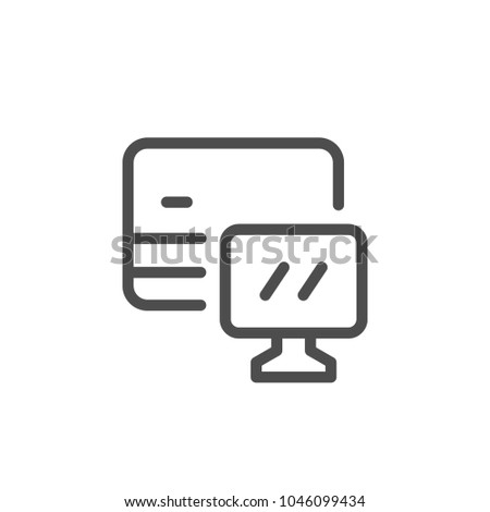 Online banking line icon isolated on white