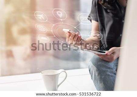 Online banking payment communication network digital technology via internet wireless application development ctr omnichannel mobile smartphone apps: Business woman/ man holding smart phone icon flow #531536722