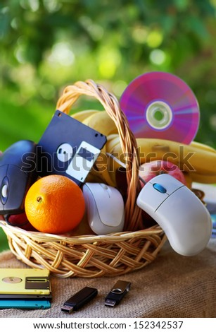 online basket, fruits and  disk, Cd, mouses...