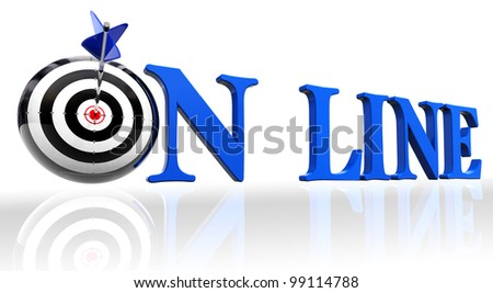 online blue word and conceptual target with arrow on white background.clipping path included - stock photo