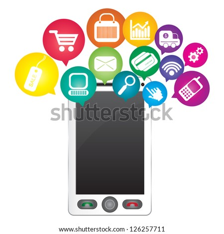 Online Business and E-Commerce Concept Present By White Smart Phone With Blank Screen For Your Own Text Message and Group of Colorful E-Commerce Icon Above Isolated on White Background