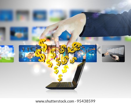Online business.Dollar sign coming out of notebook screen