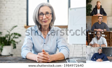 Online business training concept. A group of diverse skilled employee involved virtual meeting with confident female business coach. Video call, online conference with colleagues or workteam distantly