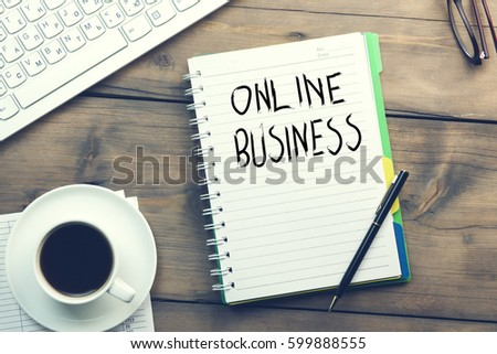 online business written on notebook with keyboard #599888555
