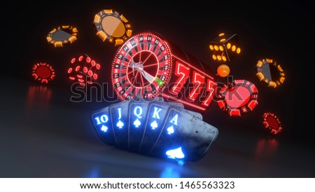 Online Casino Concept, Poker Cards, Casino Chips, Roulette Wheel With Neon Lights - 3D Illustration
