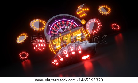 Online Casino Gambling Concept With Neon Lights - 3D Illustration