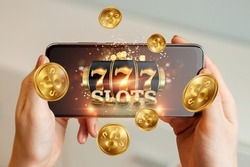 Online casino, smartphone with slot machine with jackpot and gold coins. Online Slots, Lucky Seven 777, Dark Gold Style. Luck concept, gambling, jackpot, banner
