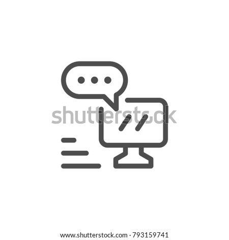 Online communication line icon isolated on white