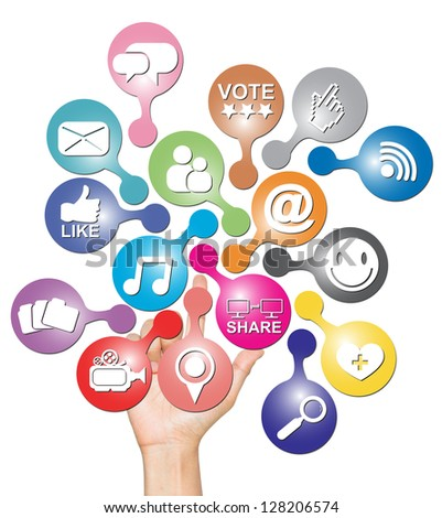 Online Communication Or Social Network Concept Present By Hand With Group of Colorful Social Network Icon Isolated on White Background