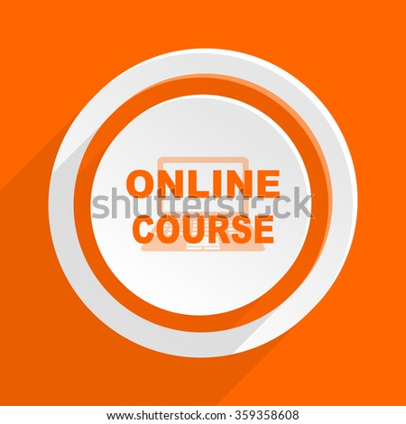 Online course orange flat design modern icon for web and mobile app