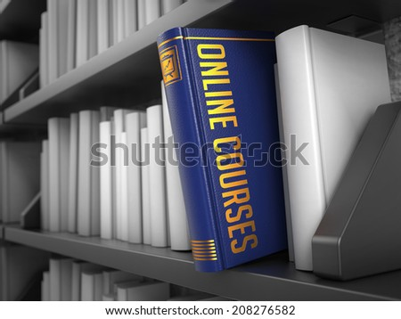 Online Courses - Book on the Black Bookshelf between white ones. Internet Concept.