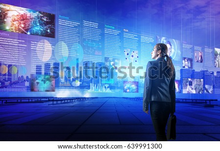 online curation media concept. electronic newspaper. young woman looking at various news images. abstract mixed media.