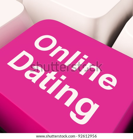 Online Dating Computer Key Showing Romance And Love