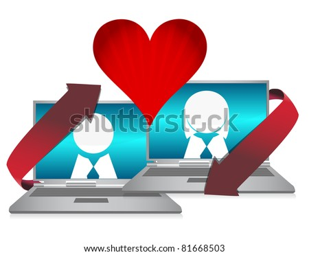 Online dating illustration concept over white