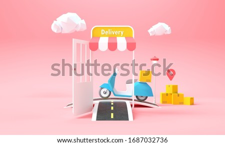 Online Delivery Service concept. Fast and free delivery, Express delivery service with parcel and scooter background for web banner template. 3D rendering illustration