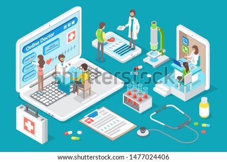 Online doctor and consultations with medical workers. Screens and medicaments, pills and capsules. Nurses taking to patients giving analysis raster