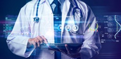 Online doctor telemedicine, future technology trend patient consult doctor get prescription and medicine by online internet mobile tablet augmented reality, hospital health care science background
