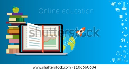 Online education concept. Distance education, online learning, certificate programs, international educational projects, start of successful career. Flat design business illustration .