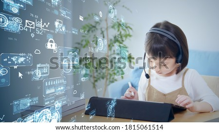 Online education concept. Online class. Asian little girl studying at home. Education. EdTech. *Video version available in my portfolio.