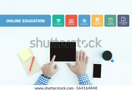 Online Education Concept with Icon Set #564164848