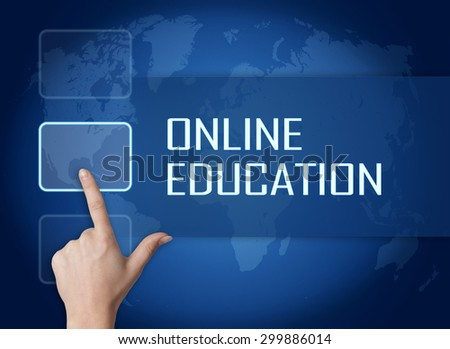 Online Education concept with interface and world map on blue background