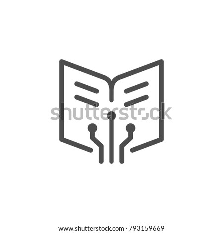 Online education line icon isolated on white