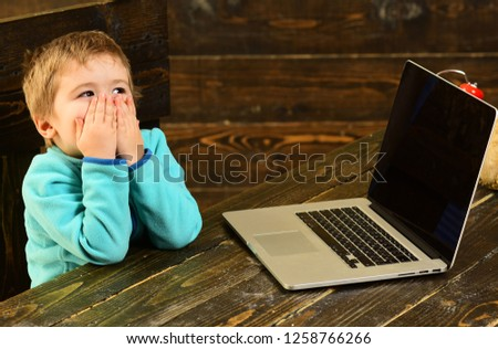 Online education. Online education in elementary school. Little boy use laptop in online education. Online education for child. Accelerating into the future. #1258766266