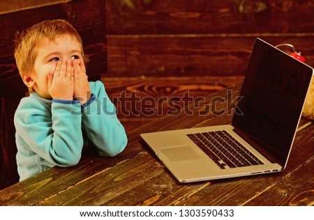 Online education. Online education in elementary school. Little boy use laptop in online education. Online education for child. Accelerating into the future.