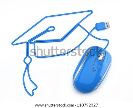 Online education, or online degree concept. Blue mouse with cord in the shape of a graduation cap on a white background.