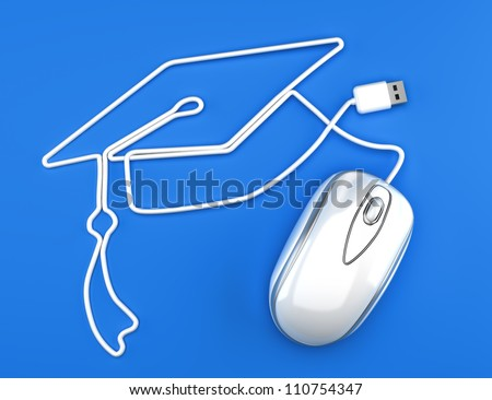 Online education, or online degree concept. White mouse with cord in the shape of a graduation cap on a blue background.