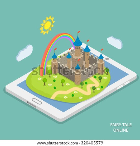 Stock Photo Online fairy tale reading isometric flat concept. Fairy tale landscape with castle and rainbow laying on tablet.