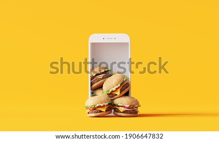 Online food delivery. Hamburgers on smartphone on yellow background. 3d rendering
