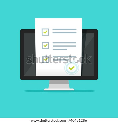 Online form survey on pc computer illustration, flat cartoon monitor display showing quiz exam paper sheet document, concept of electronic voting on internet, web learning clipart image