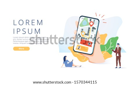 Online Helper Landing Page Offer Fast Delivery. Cartoon People Using Mobile or Computer Application for Ordering Courier Services with Shortest Route. Order Tracking. Flat Illustration