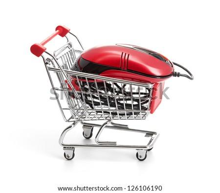 Online Internet Shopping.  isolated on white background