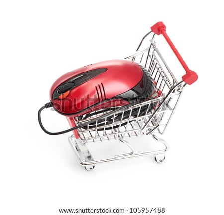Online Internet Shopping. Shopping Trolley with Mouse on the white