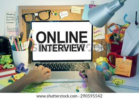 Online Interview / Business interview on internet with laptop